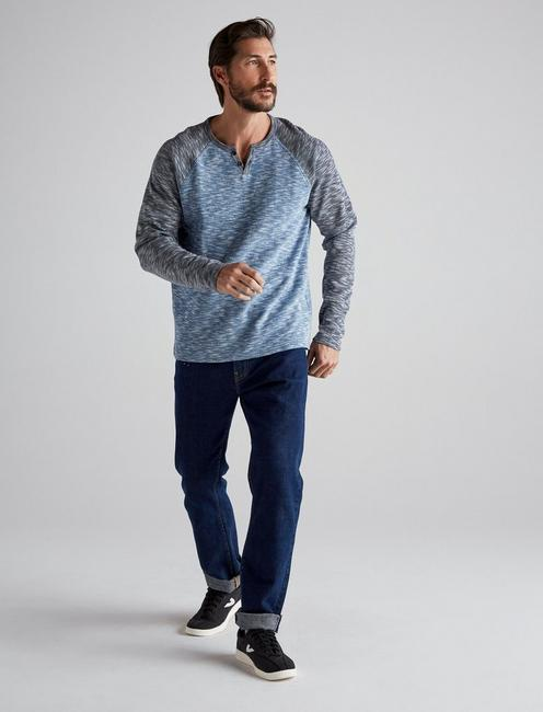 LONG SLEEVE COLORBLOCK BUTTON NOTCH, BLUE MULTI