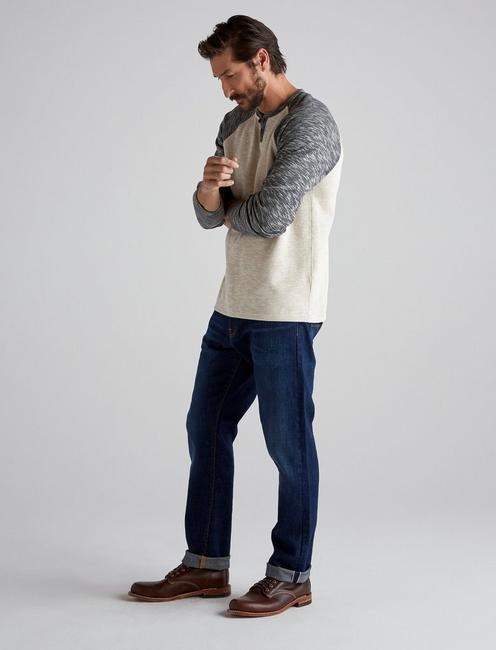 LONG SLEEVE COLORBLOCK BUTTON NOTCH, OAT MULTI