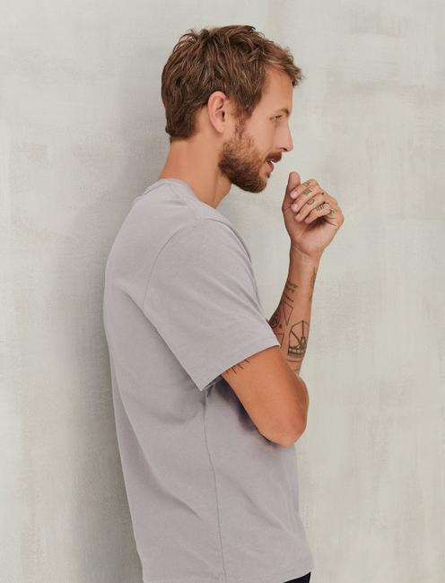SUEDED JERSEY TEE, FROST GREY