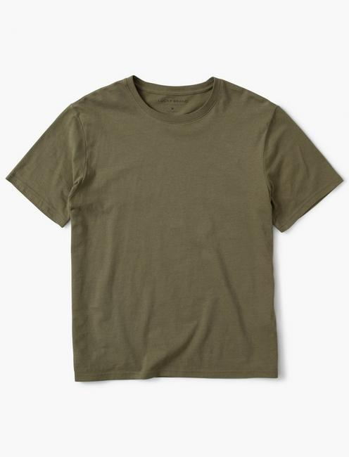 SUEDED JERSEY TEE, BURNT OLIVE