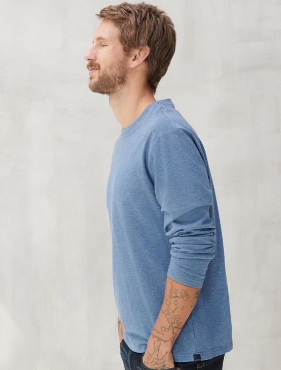 SUNSET LONG SLEEVE TEE, NAVY HEATHER, productTileDesktop