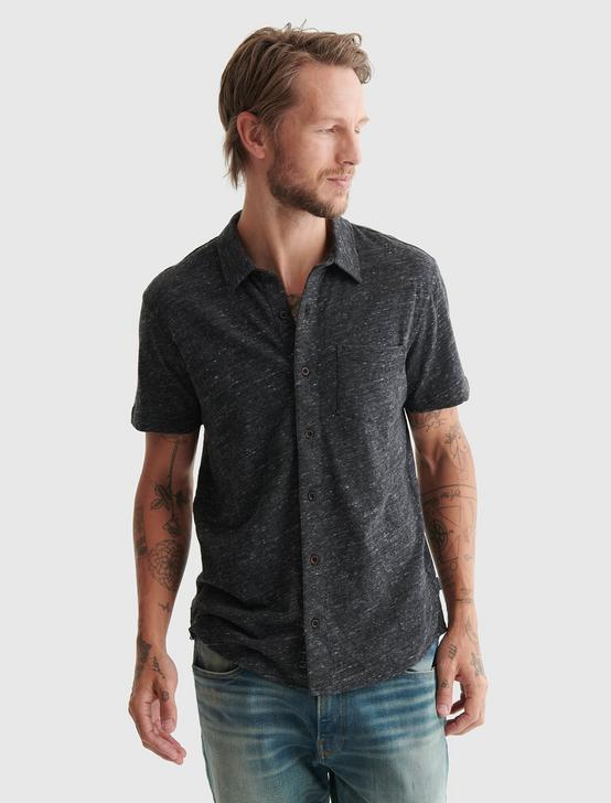 LINEN BUTTON UP SHIRT, #001 BLACK, productTileDesktop