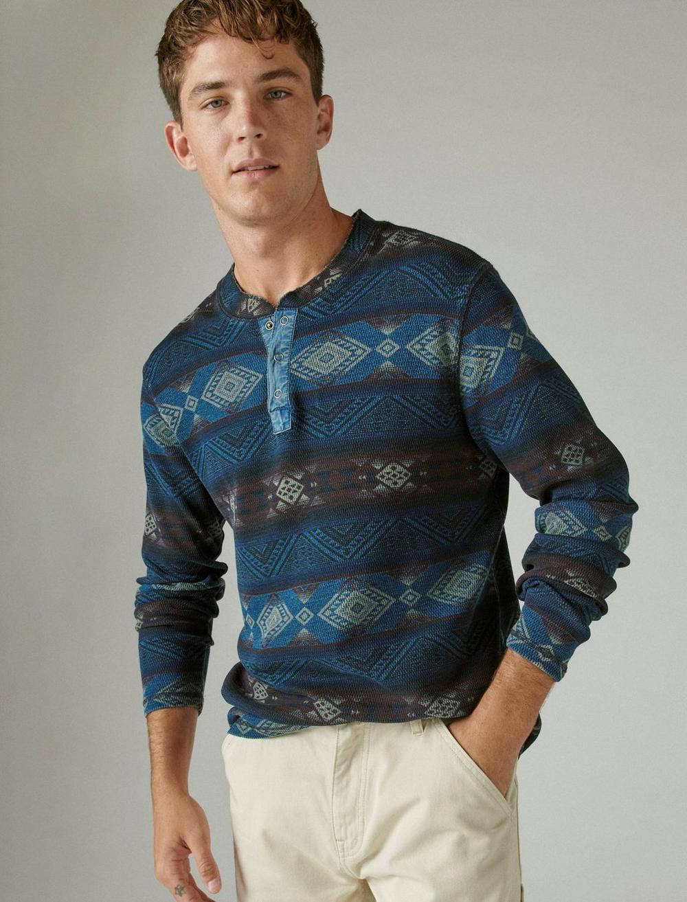 PRINTED WASHED SNAP-BUTTON HENLEY, image 1