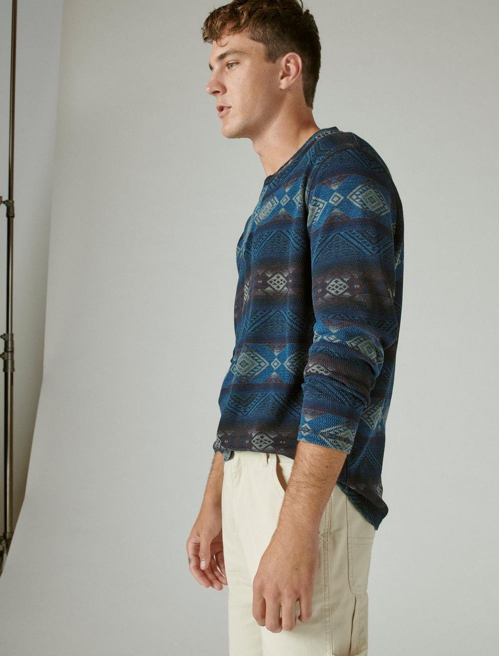 PRINTED WASHED SNAP-BUTTON HENLEY, image 3