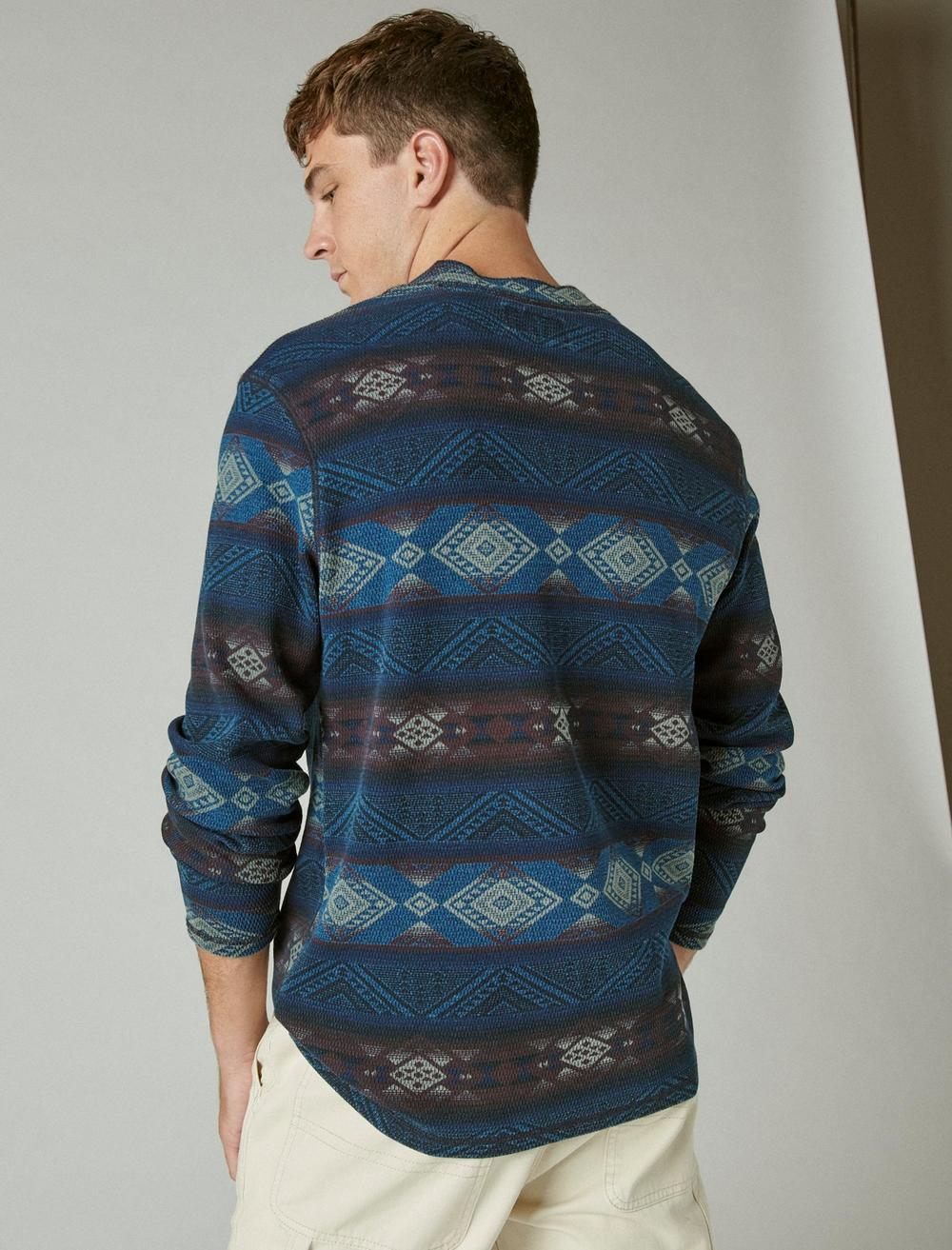 PRINTED WASHED SNAP-BUTTON HENLEY, image 4