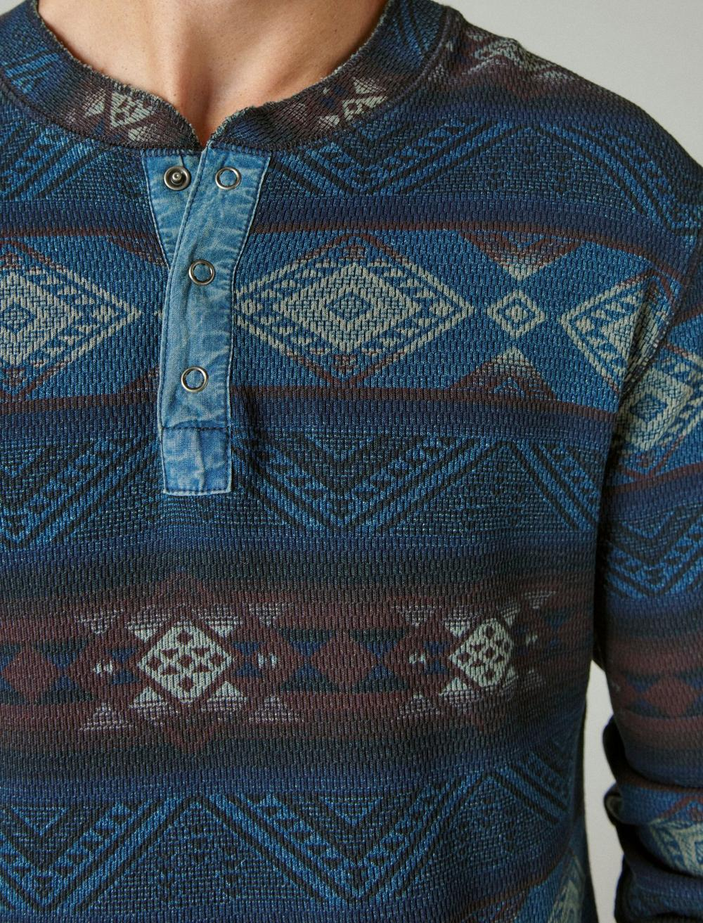 PRINTED WASHED SNAP-BUTTON HENLEY, image 5