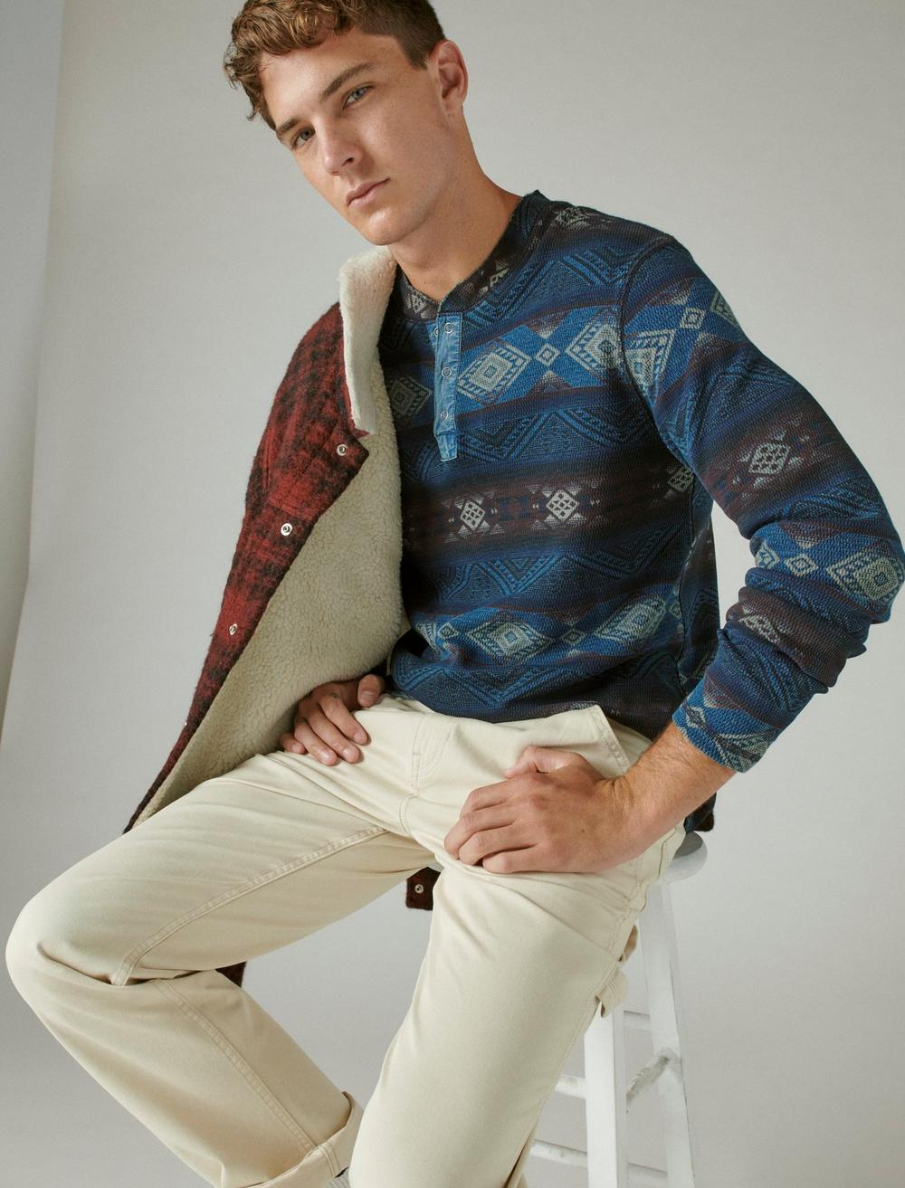 PRINTED WASHED SNAP-BUTTON HENLEY, image 6