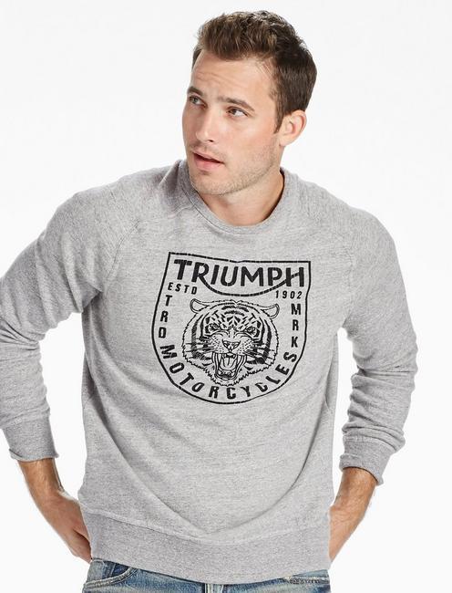 TRIUMPH CREW SWEATSHIRT, HEATHER GREY