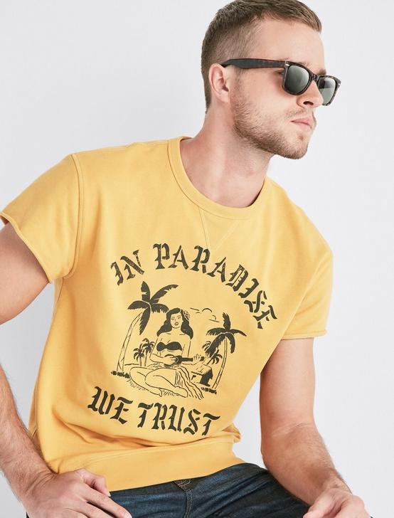 COOLMAX IN PARADISE WE TRUST CREW TEE, BRIGHT GOLD, productTileDesktop