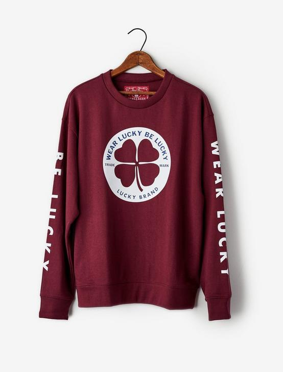 Totally Lucky Clover Circle Crew Sweatshirt, BURGUNDY, productTileDesktop