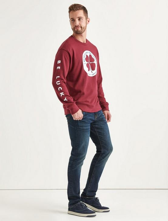 Totally Lucky Clover Circle Crew Sweatshirt, BURGUNDY, productTileDesktop