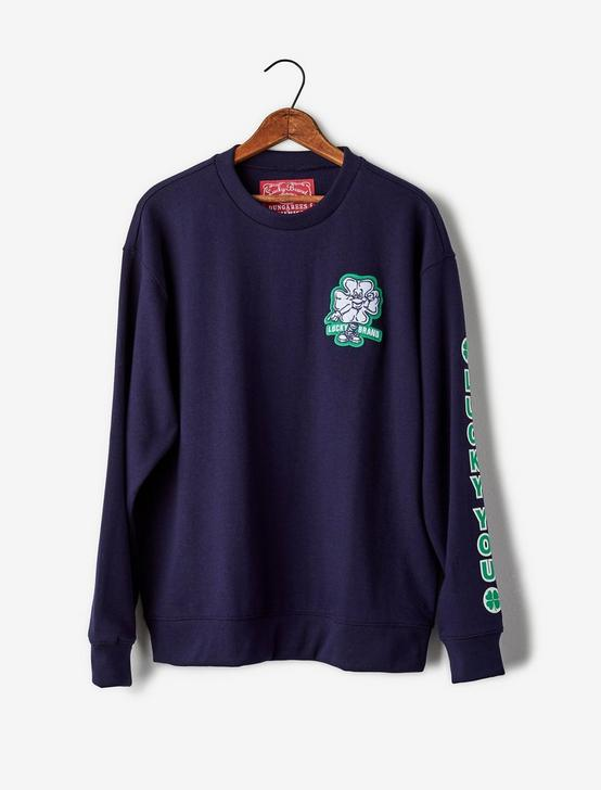 Totally Lucky Patch Crew Sweatshirt, MARITIME BLUE, productTileDesktop