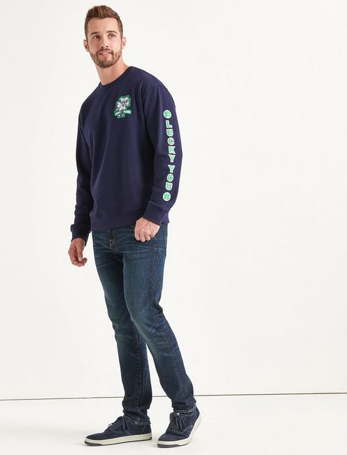 Totally Lucky Patch Crew Sweatshirt, MARITIME BLUE