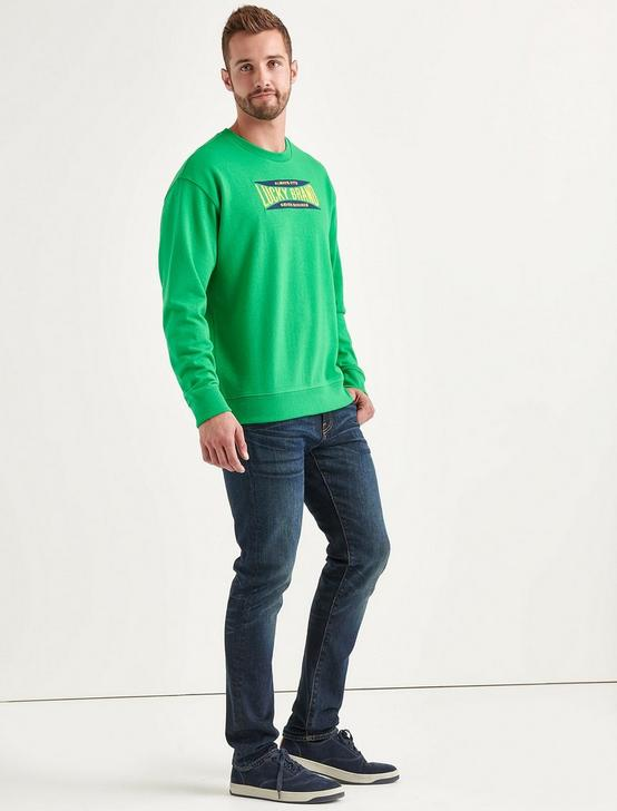 Totally Lucky Stretch Logo Crew Sweatshirt, BRIGHT GREEN, productTileDesktop