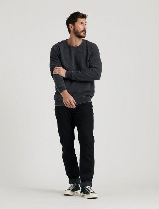 BURNOUT FLEECE CREW, JET BLACK, productTileDesktop