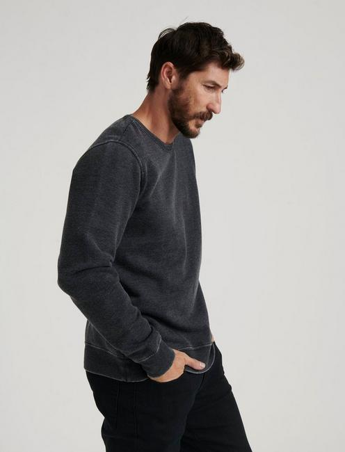 BURNOUT FLEECE CREW, JET BLACK