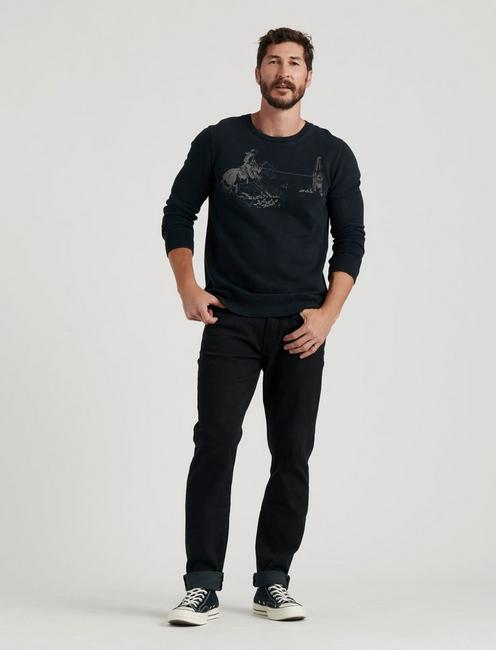 LASSO SUEDED CREW SWEATSHIRT, JET BLACK