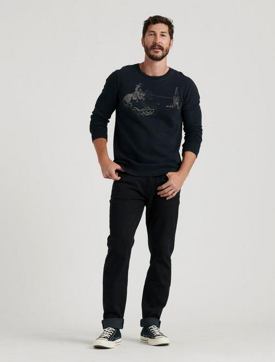 LASSO SUEDED CREW SWEATSHIRT, JET BLACK, productTileDesktop