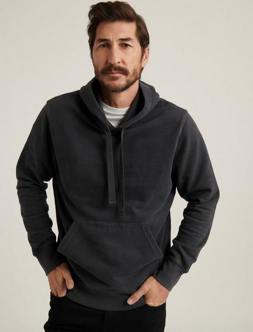 SUEDED FLEECE TERRY HOODIE, BLACK ONYX