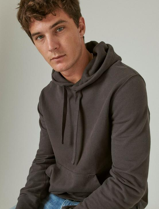 SUEDED FLEECE TERRY HOODIE, BLACK ONYX, productTileDesktop