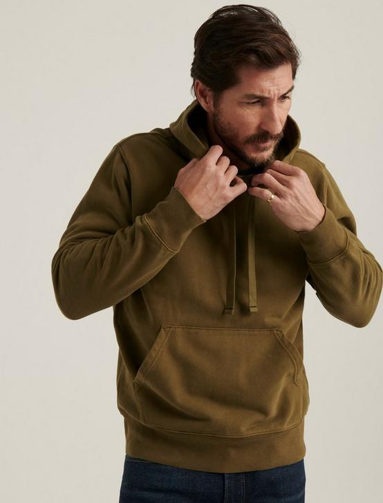 SUEDED FLEECE TERRY HOODIE, OLIVE NIGHT, productTileDesktop