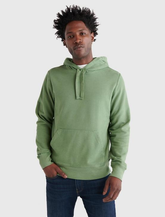 SUEDED FLEECE TERRY HOODIE, ARTICHOKE GREEN, productTileDesktop