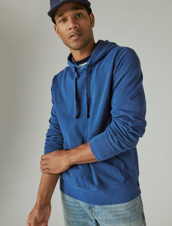 SUEDED FLEECE TERRY HOODIE, ESTATE BLUE, productTileDesktop