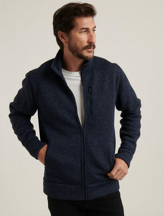 LOS FELIZ FLEECE FULL ZIP MOCK NECK, NAVY, productTileDesktop