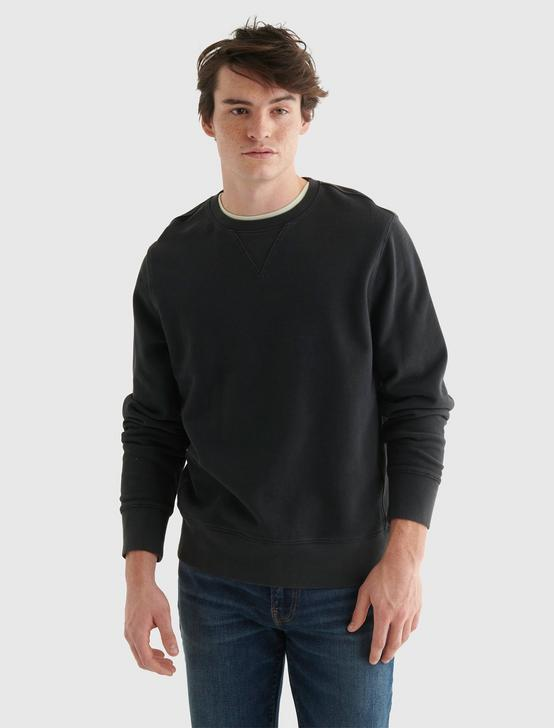 SUEDED FLEECE TERRY CREW SWEATSHIRT, JET BLACK, productTileDesktop