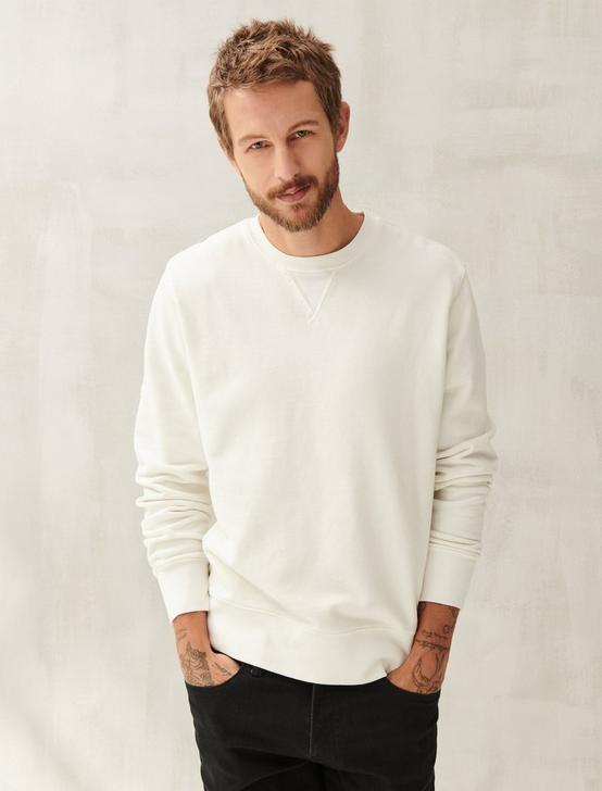 SUEDED FLEECE TERRY CREW SWEATSHIRT, WHITE, productTileDesktop