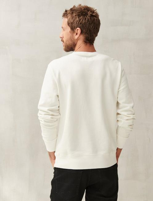 SUEDED FLEECE TERRY CREW SWEATSHIRT, WHITE