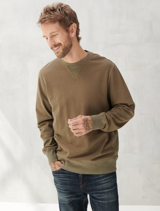 SUEDED FLEECE TERRY CREW SWEATSHIRT, OLIVE NIGHT, productTileDesktop