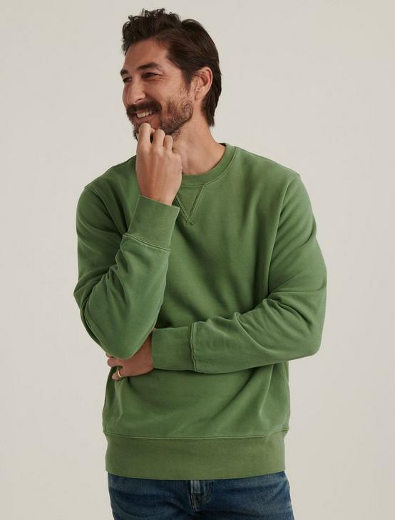 SUEDED FLEECE TERRY CREW, ELM GREEN, productTileDesktop