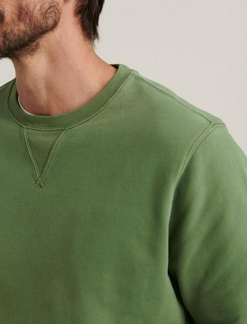 SUEDED FLEECE TERRY CREW SWEATSHIRT, ELM GREEN