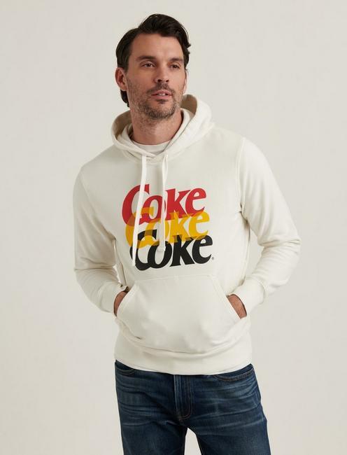 SUEDED FLEECE COCA-COLA HOODIE, WHITE