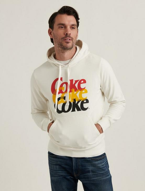 SUEDED FLEECE COCA-COLA HOODIE, WHITE, productTileDesktop