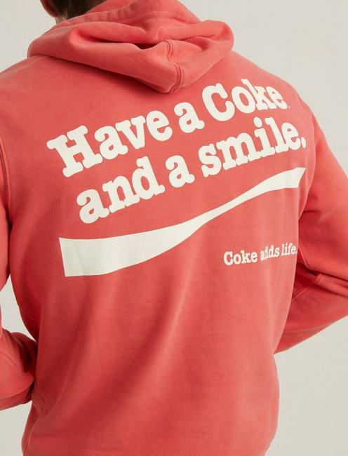 ENJOY COKE SUEDED FLEECE HOODIE, #6676 BAKED APPLE
