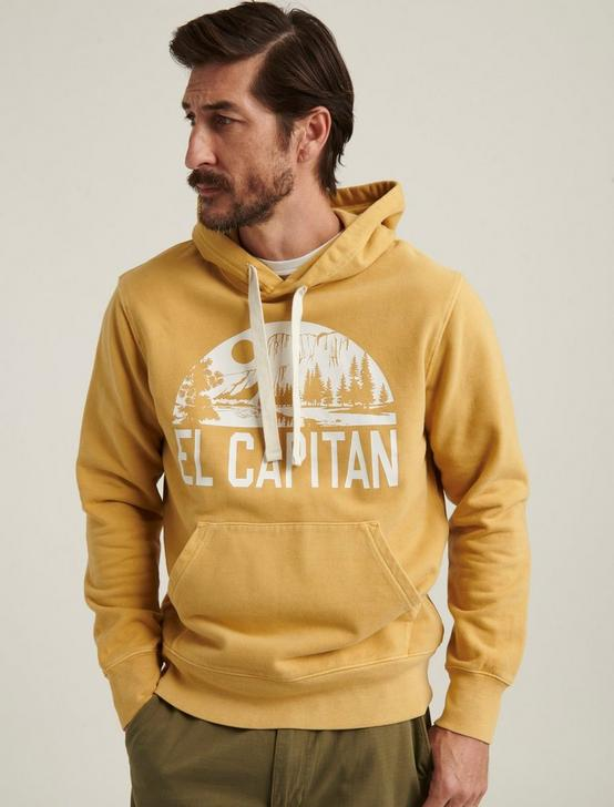 EL CAPITAN SUEDED FLEECE HOODIE, OCHRE, productTileDesktop