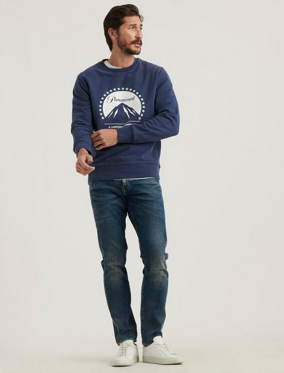 PARAMOUNT SUEDED FLEECE CREW NECK, AMERICAN NAVY, productTileDesktop