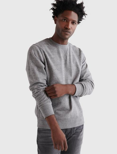 SUEDED FLEECE TERRY CREW SWEATSHIRT,