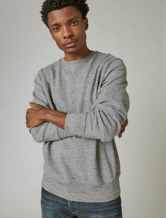 SUEDED FLEECE TERRY CREW NECK, HEATHER GREY, productTileDesktop