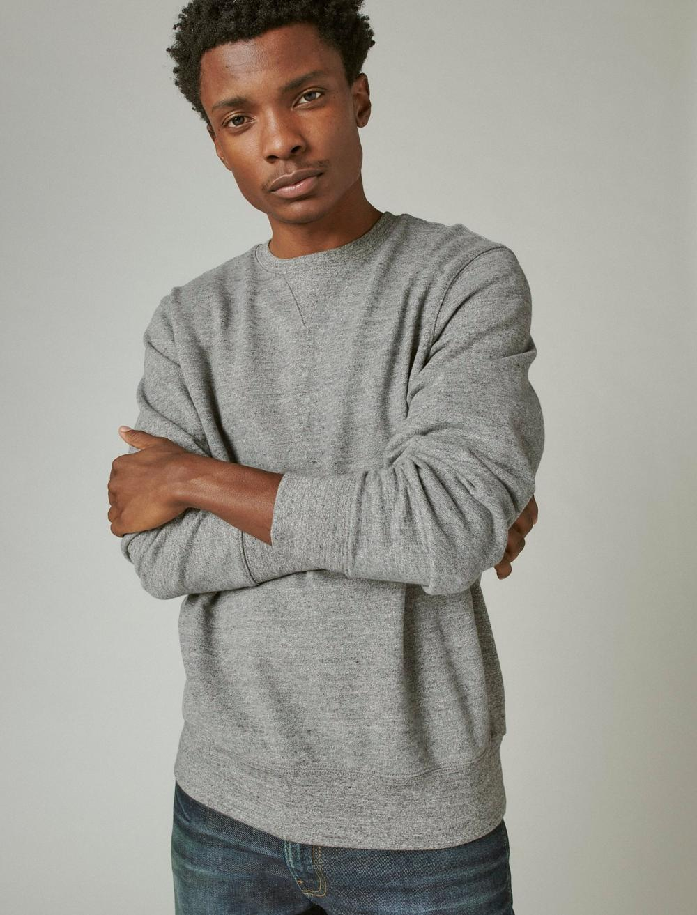 SUEDED FRENCH TERRY CREW SWEATSHIRT, image 1