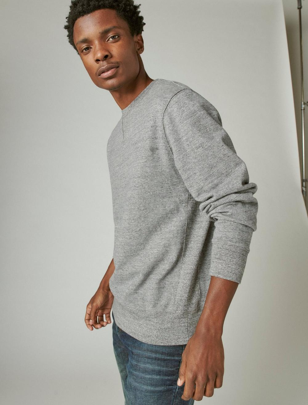 SUEDED FRENCH TERRY CREW SWEATSHIRT, image 3