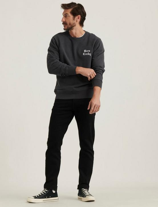 BORN LUCKY SUEDED FLEECE CREW NECK, BLACK ONYX, productTileDesktop