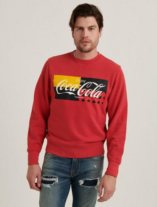 SUEDED FLEECE COCA-COLA CREW, 636 RED, productTileDesktop