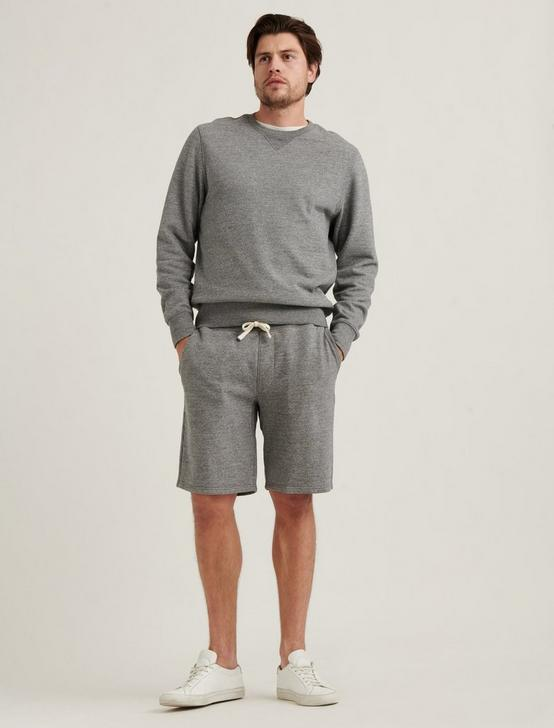 SUEDED FLEECE TERRY SHORT, HEATHER GREY, productTileDesktop