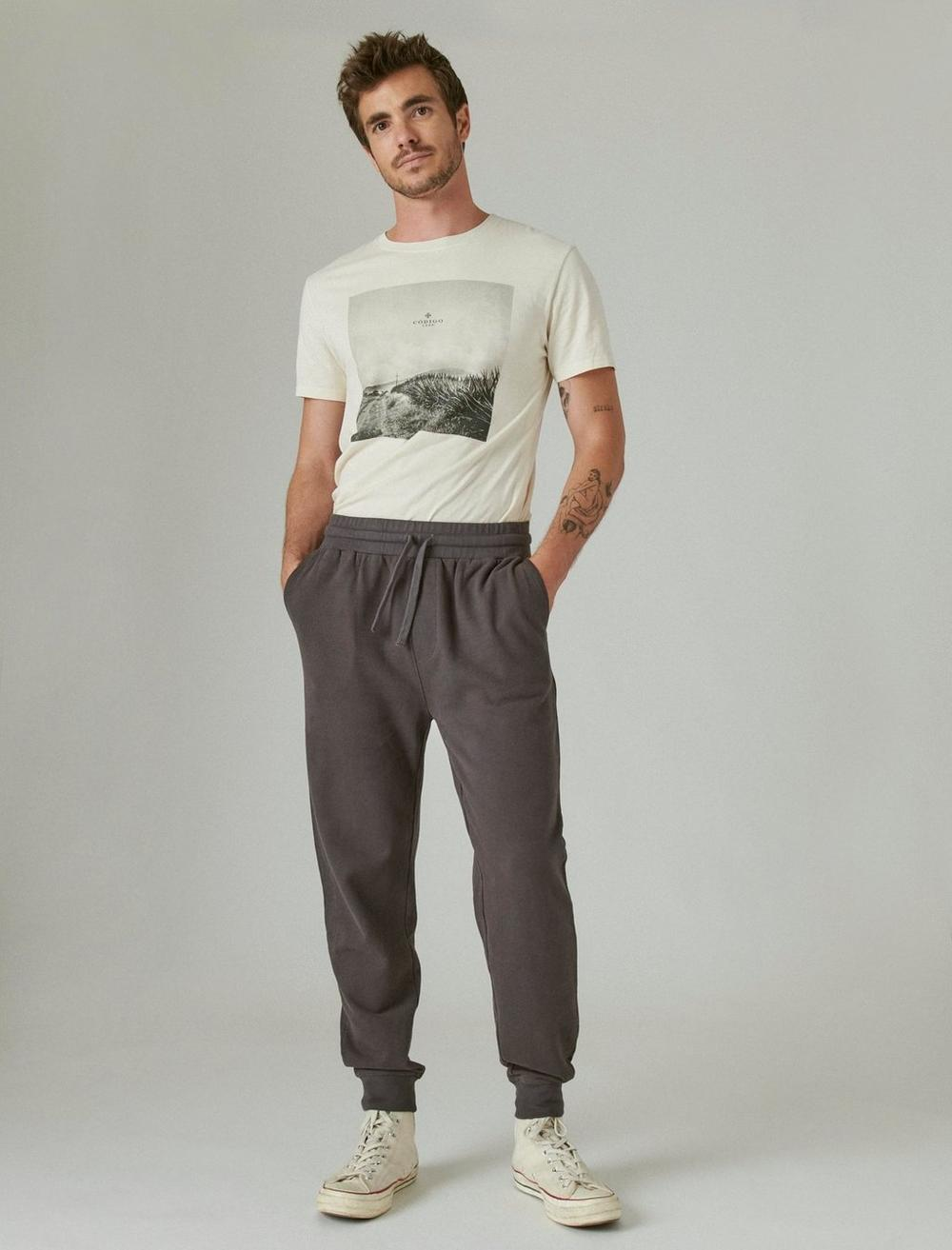 SUEDED FRENCH TERRY JOGGER PANT, image 1