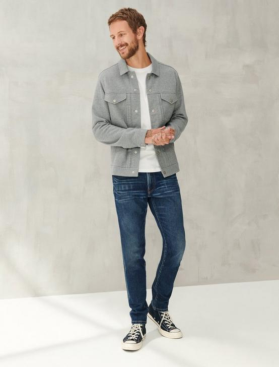 FRENCH TERRY TRUCKER JACKET, HEATHER GREY, productTileDesktop