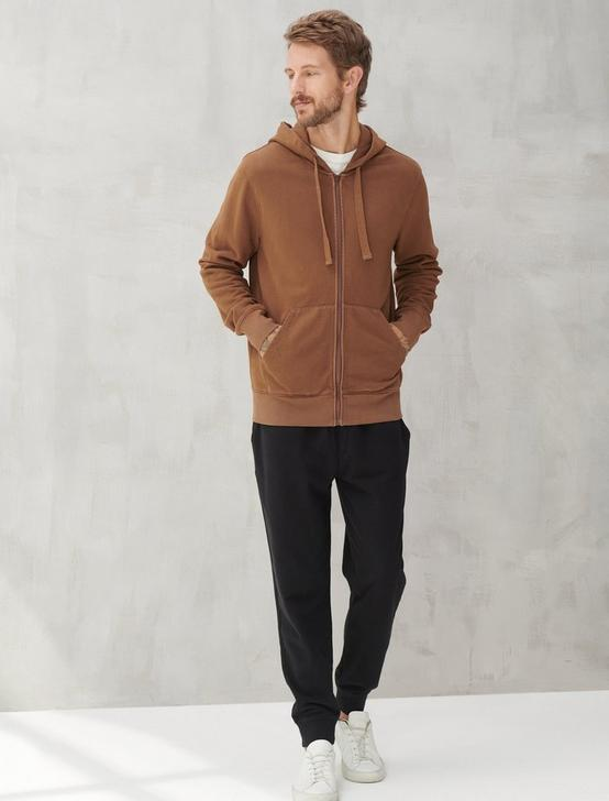 SUEDED TERRY FULL ZIP HOODIE, BISON, productTileDesktop