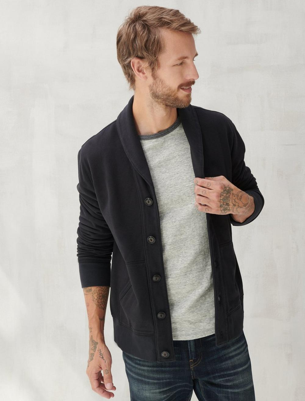 SUEDED TERRY CARDIGAN, image 1